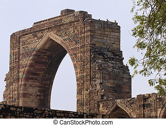 Arabic gateway, Qutb Minar Delhi - Huge loose structure with...