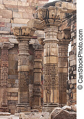 columns and pillars at Qutb Minar - Group of standing...