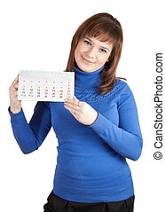 Girl holding loose-leaf calendar. Isolated over white