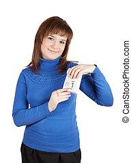 Girl holding tear-off calendar