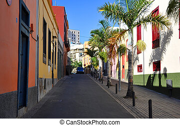 Colorful houses on a street of Santa Cruz, Tenerife, Canaries
