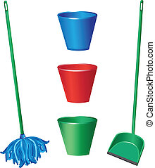 Floor cleaning objects. Illustration on white background