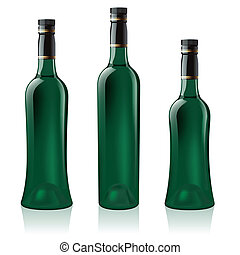 Set of green wine bottle