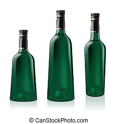 Set of green wine bottle