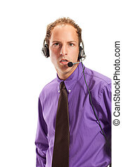 businessman working in a call center