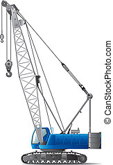 Hydraulic Crawler Crane isolated on white