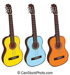 illustration of classic guitars - fully editable...