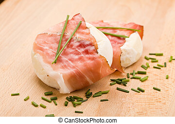 Cheese with wrapped bacon - photo of delicious fresh white...