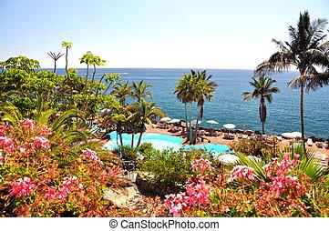 Luxurious resort at the Atlantic ocean. Tenerife island,...