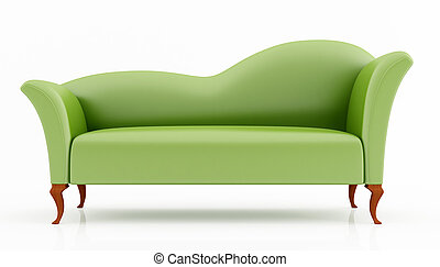 green fashion couch isolated on white - rendering