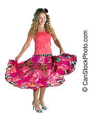 Dancing beauty girl in pink
