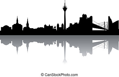 Duesseldorf Skyline abstract on white Background
