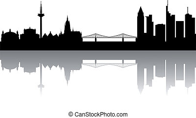 Frankfurt Skyline abstract on white Background