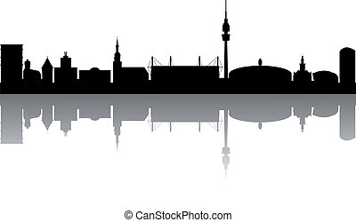 Dortmund Skyline abstract on white Background