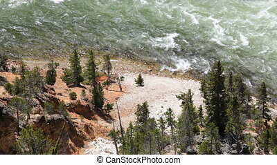 Yellowstone River - Flowing Yellowstone River through the...