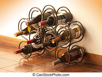 Wine bottles - Red and white wine bottles stacked on iron...