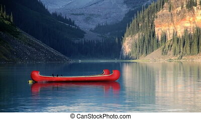 Canoes on Lake Louise - Two Canoes, Banff National Park,...