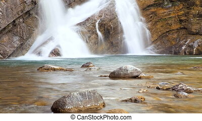 Cameron Falls, Time Lapse - Waterton Lakes National Park,...