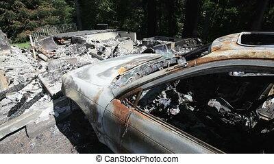 Burned House and Car - Ruins of a house fire, Washington,...