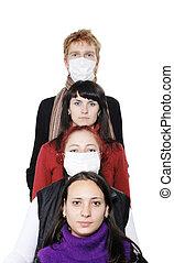 gente, máscaras, enfermo, gripe