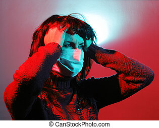 Girl with a headache, suffering from flu, A(H1N1)