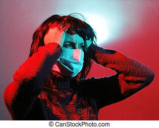 niña, dolor de cabeza, sufrimiento, gripe