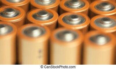 Batteries - Rows of batteries, close up