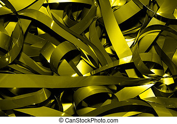 Gold tape - this is a closeup shot of bundle of old vhs...