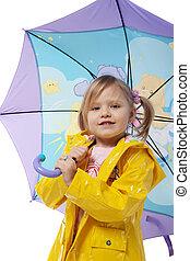 pequeno, menina, amarela, casaco, guarda-chuva