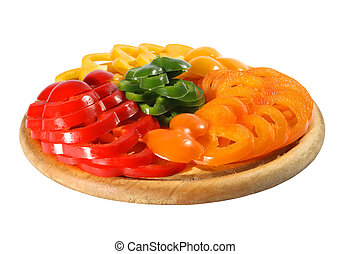 pepper on the chopping board isolated - Red yellow orange...