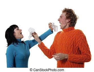 enfermo, gripe, hombre, mujer, estornudo, cada, otro