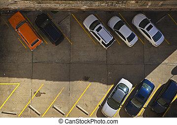 Urban Parking Lot - An urban parking lot in a metropolitan...