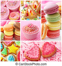Colorful cakes collage close up