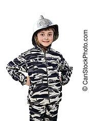 Little boy in the old fire helmet