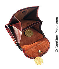 Empty purse, last coins, change on the white background
