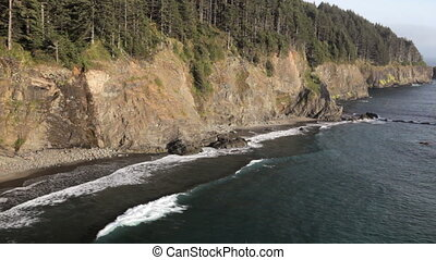 Oregon Coast - Cliffs along the Oregon coast, includes high...