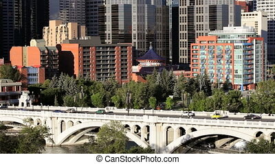 Downtown Calgary - Traffic going into Downtown Calgary on...