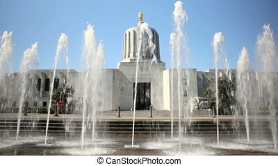 State Capitol Building - Dolly shot of water feature in...