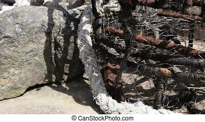 Crab Pots - Stack of empty crab pots, Oregon, tilt and pan