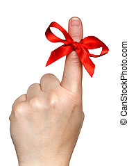 red bow on finger - bow on finger isolated over white...