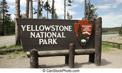 Yellowstone National Park Sign 1 - Entrance sign for...