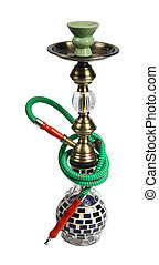 green Hookah on the white background isolated