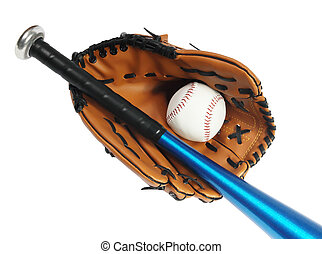 Brown baseball glove, bat and white ball on the white...
