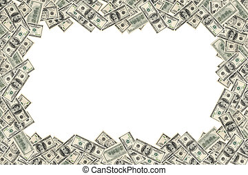 Frame of dollars on white background