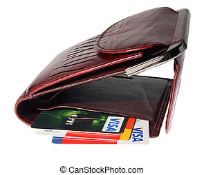 Full purse of money and credit cards on the white background...
