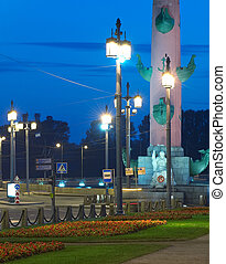 Rostral column in Saint-Petersburg (Russia) at night.