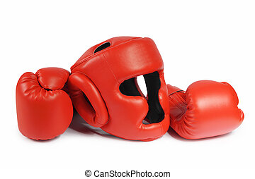 Red boxing-gloves and helmet. (isolated) - Red boxing-gloves...