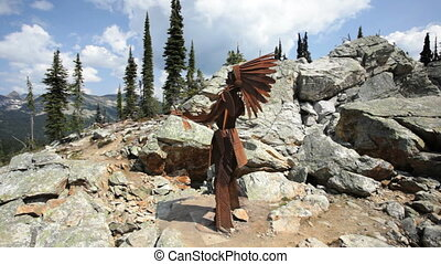 Native American Sculpture - Mount Revelstoke National Park,...