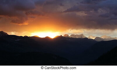Glacier Sunset, time lapse - Glacier National Park, Sunset,...