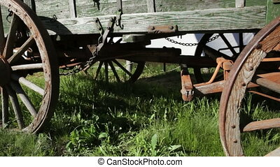 Old Wagon Wheels - Close up of wagon wheels on an old...